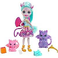 Enchantimals Royals coffret Famille avec mini-poupée Deanna Dragon, 3 figurines animales et 4 accessoires, jouet pour…