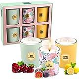 Lot de 6 Coffret Bougies Parfumées de Cadeau Ensemble,Bougie à la Cire de Soja Naturelle Idée Cadeau,pour l'aromathérapie, ba