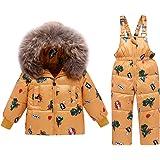 2 Piezas Niños Traje de Nieve de Invierno, Niñas Capucha Chaqueta de Plumón de Pato + Nieve Pantalones Babero Dinosaurio Ropa