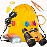 UTTORA Kit de Binoculares para Niños, Kit de Exploración para Niños 7 en 1, Prismáticos, Linterna LED de Mano, Brújula, Lupa,