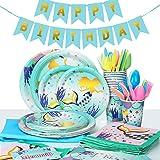 MOOKLIN ROAM - 134 Piezas Sirena Birthday Party Kit Accesorio de Decoración de Fiesta de Cumpleaños Desechable con Platos Ser