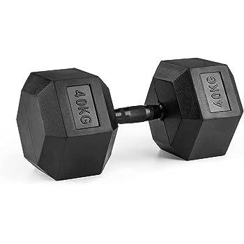Capital Sports Hexabell Mancuerna hexagonal (pesa corta de 40 kg, recubrimiento de caucho, agarre antideslizante) - negro