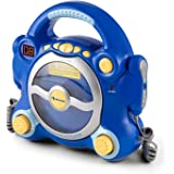 auna Pocket Rocker - Chaîne karaoké, Enceintes stéréo intégrées, Lecteur CD, Fonction Programmation et répétition, 2 Microphones à réglage Volume séparé, Bleu