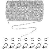 Jerbro - Catenina in acciaio inox, lunghezza 10 m, catena a maglie con 20 chiusure a moschettone e 30 anelli per gioielli fai