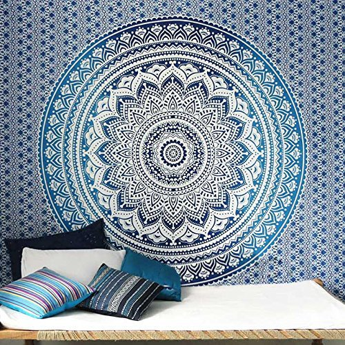Tapestry Queen Ombre Hippie tapestries Mandala Bohemian Psychedelic Intricate Indian Bedspread 92x82 Inches Aakriti Gallery - Hippie Mandala
