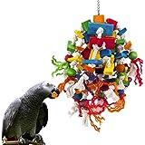 MQUPIN Jouet à mâcher pour grands perroquets multicolores en bois naturel - Jouets à déchirer pour oiseaux perroquets gris af