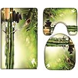 A.Monamour Ensembles De Tapis 3 Pcs pour Salle De Bain Et WC Yoga Zen Méditation Idée Vert Bambou l'eau Paysage Naturel Flane
