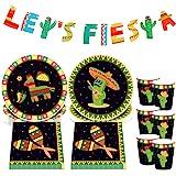 JeVenis Juego de 45 platos y servilletas mexicanos para fiestas, fiestas, fiestas, fiestas mexicanas