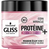 Schwarzkopf - Gliss - Masque Soin Miracle Eclat 4 en 1 - Cheveux abîmés et colorés - 96% d'ingrédients d'origine naturelle -