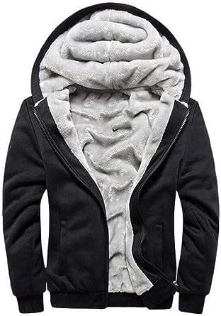 Mens Fleece Lined Hoodies Zip Up Hooded Sweatshirt Warm Thick Fluffy Sherpa Jacket Coat Plus Size Top