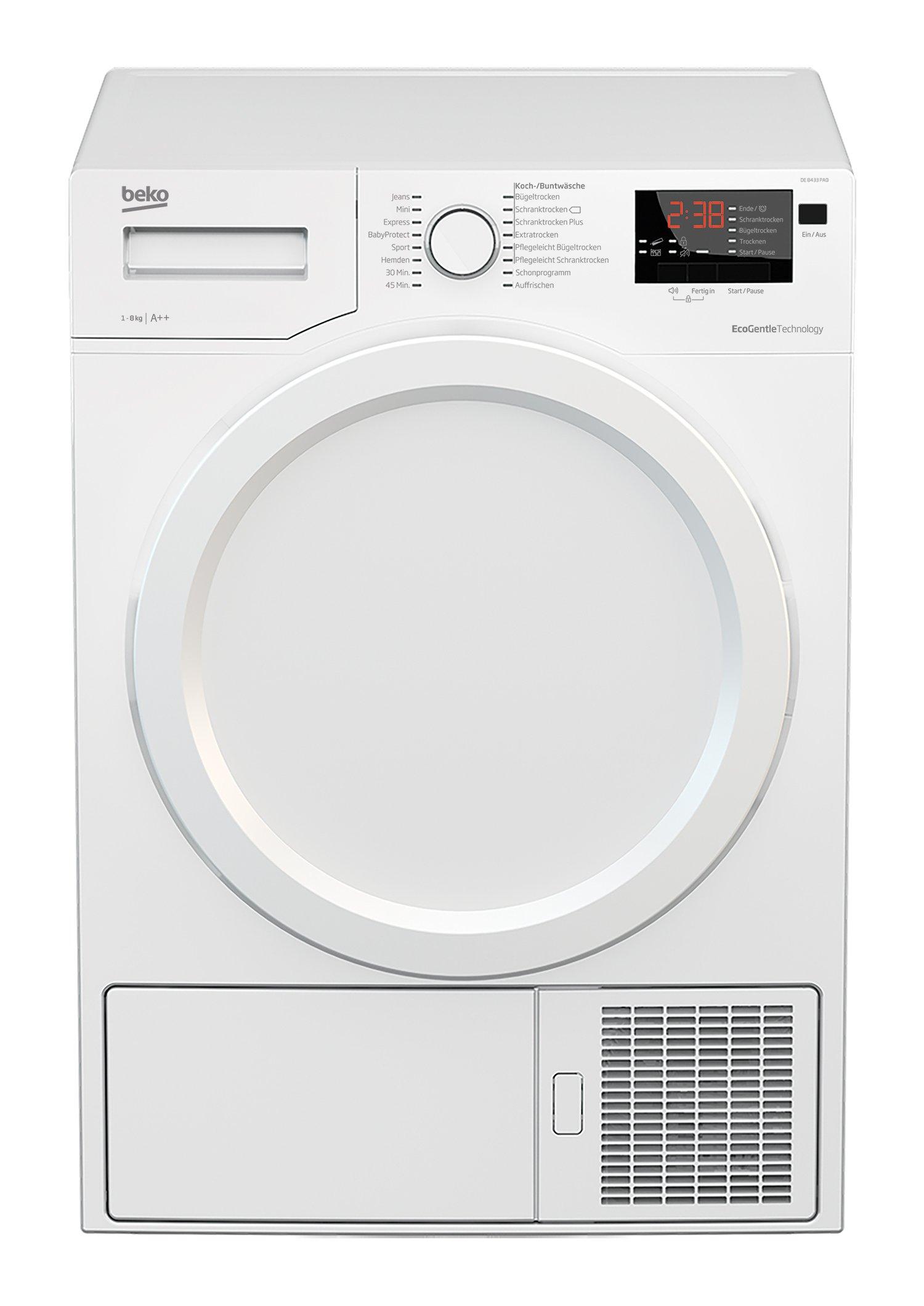 Beko DE8433PA0 Wärmepumpentrockner, Kondenstrockner, 8 kg, Flexy Sense