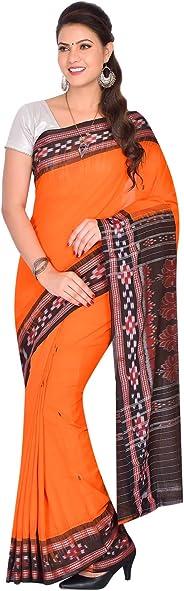 Odisha Handloom Sambalpuri Ikat Cotton Saree (Orange)