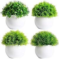 AJSN Artificial Plants with Pots ( Set of 4 ) - Mini Bonsai Plants for Home Office Desktop Decor