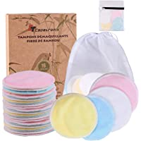 Tampons Démaquillants fibre de bambou丨disques coton demaquillant lavable丨(16pcs) + 2 Sac de lavage丨Fibre de bambou…