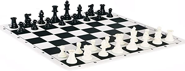 Shree Creation 17 x 17-inch Tournament Plastic Filled Chess Pieces and Roll-up Vinyl Chess Board