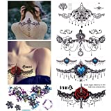 SooFam 5 Sheet Tattoo Sticker, Large Fake Temporary Chest Waist Tattoos Fake Waterproof Body Tattoos for Girls Women(13.8x24c