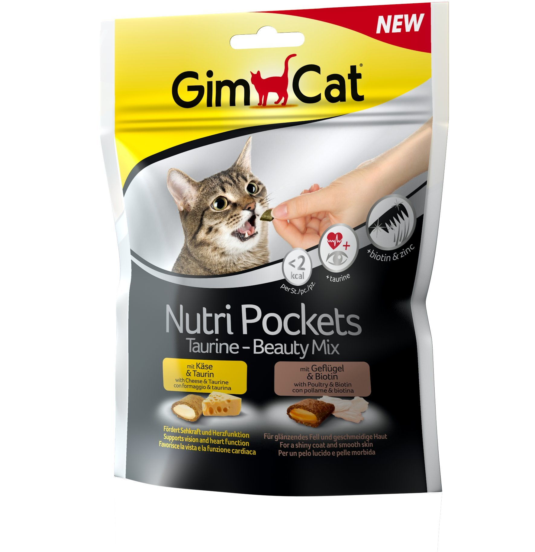 GimCat Nutri Pockets – Snack crujiente para gatos: provisto de relleno cremoso e ingredientes funcionales – Sin azúcar añadido – Mezcla Beauty de taurina  – 1 bolsa (1 x 150 g)