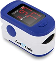 Zacurate Portable and Reliable Fingertip Pulse Oximeter, Accurate Heart Rate Monitor with Lanyard and Batteries Included (Bl