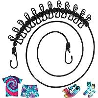Johgee Corde de Linge Flexible 180-360 cm, Étendoir à Linge avec 12 Pince à Linge et 13 Boucles de Positionnement, pour…