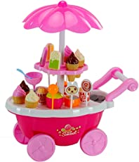 ToysCentral Sweet Cart Play Set for Kids, 39 pcs Pretend Play Sweet Shop Set with 4 wheels Carrying Case Cart, Includes Sweets, Ice-Creams and Play Cash