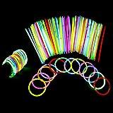 YIQI Bastoncini Luminosi, Confezione da 100 Bastoncini Luminosi da 8 Pollici con connettori per Palline per Braccialetti, Gio