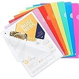 Dossiers en plastique transparent A4, 25pcs Chemise Plastique Pochette Pour le stockage du papier, 8 couleurs assorties, pour