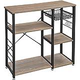 VASAGLE metalen keukenplank, stabiele staande plank, plaatsbesparende magnetronplank met stalen frame en draadmand, met 6 hak