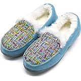 ONCAI Memory Foam Zapatillas De Casa para Mujer Felpa Pantuflas Mocasines Calentar Invierno Tweed Zapatos para Interior Exter