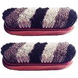 Macaw Shoe Polish Shiner Cleaner Brush Original Hair And Wooden Brush - Set Of 2 Pieces Brush
