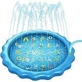 Mafiti Splash Pad,Tapete De Juegos De Agua Almahadilla Aspersor De Agua Inflable 170cm Al Aire Libre Para Niños, Mascotas en