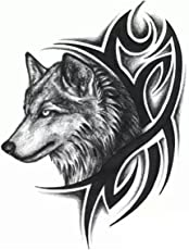 Generic Temporary Girl's Tattoo 3D Wolf Sticker, 19x12cm (Black, SSRT0036M) - Set of 1 Piece