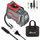 Reesibi Gonfleur Pneus Voiture 12V 230V DC/AC Double Alimentation, 150PSI Compresseur à air Pompe électrique, écran Digital,
