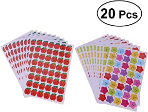 STOBOK 40 Sheets Children Encouragement Rewards Stickers Cartoon Cute Temporary Stickers (Little Star, Small Apple)