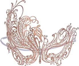 Coxeer Venetian Masquerade Mask Party Prom Laser-cut Metal Masquerade Masks Rose Gold