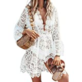 Sunfanrtnn Damen Spitze Strandkleid Sommer Strandponcho Strandurlaub Kimono Cardigan Badeanzug Transparent Bikini Cover-Ups