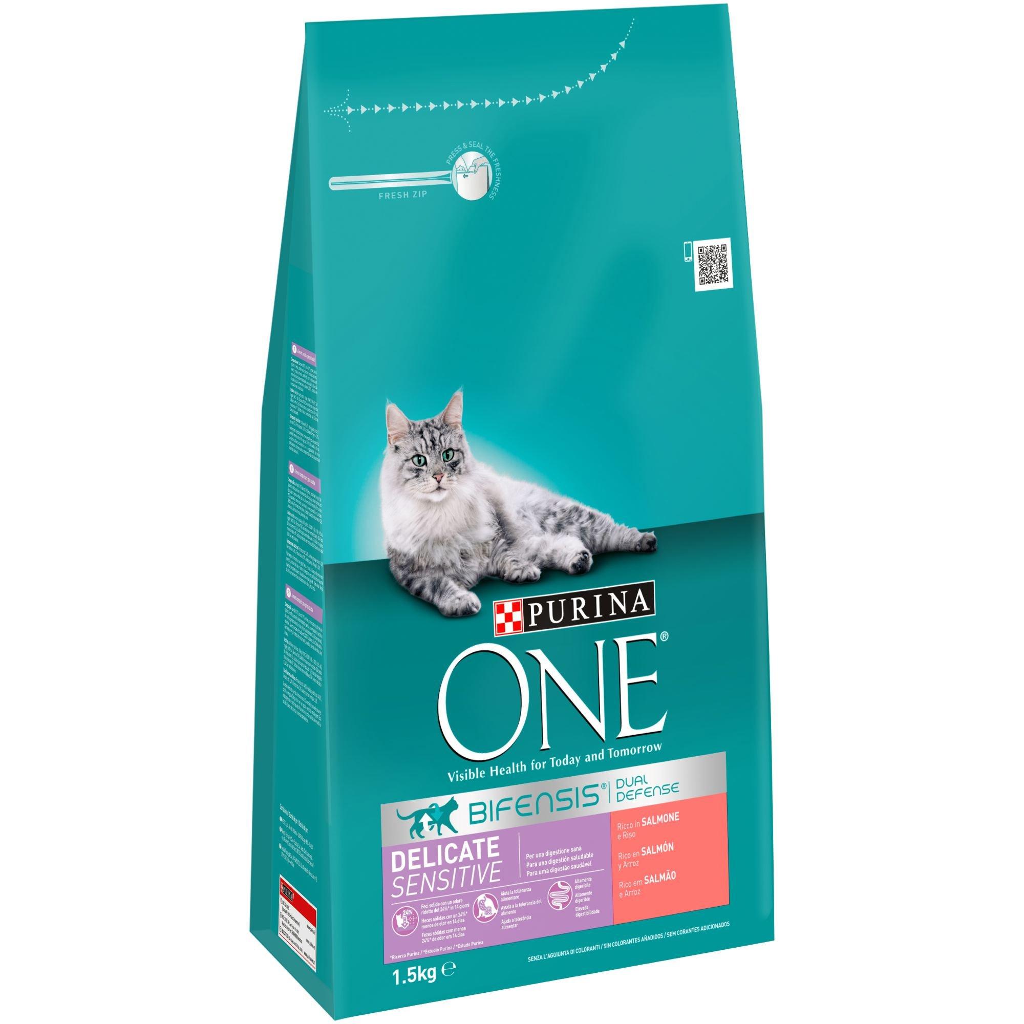 PURINA ONE Bifensis Pienso para Gatos con la Digestión Sensible Salmón y Cereales 6 x 1,5 Kg