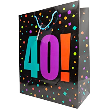 Large Mens Gift Bag Holder Happy 40th Birthday Age Party Presents Carrier Wrap
