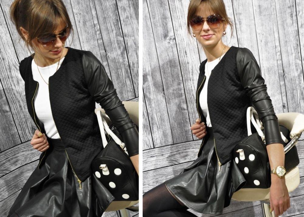 d4ba74c4027c3 Bello ed Elegante Cardigan Bolero da Donna Giacca trapuntata con con Zip e  Maniche in ecopelle (179)   Giacche da abito e blazer   Abbigliamento - tibs