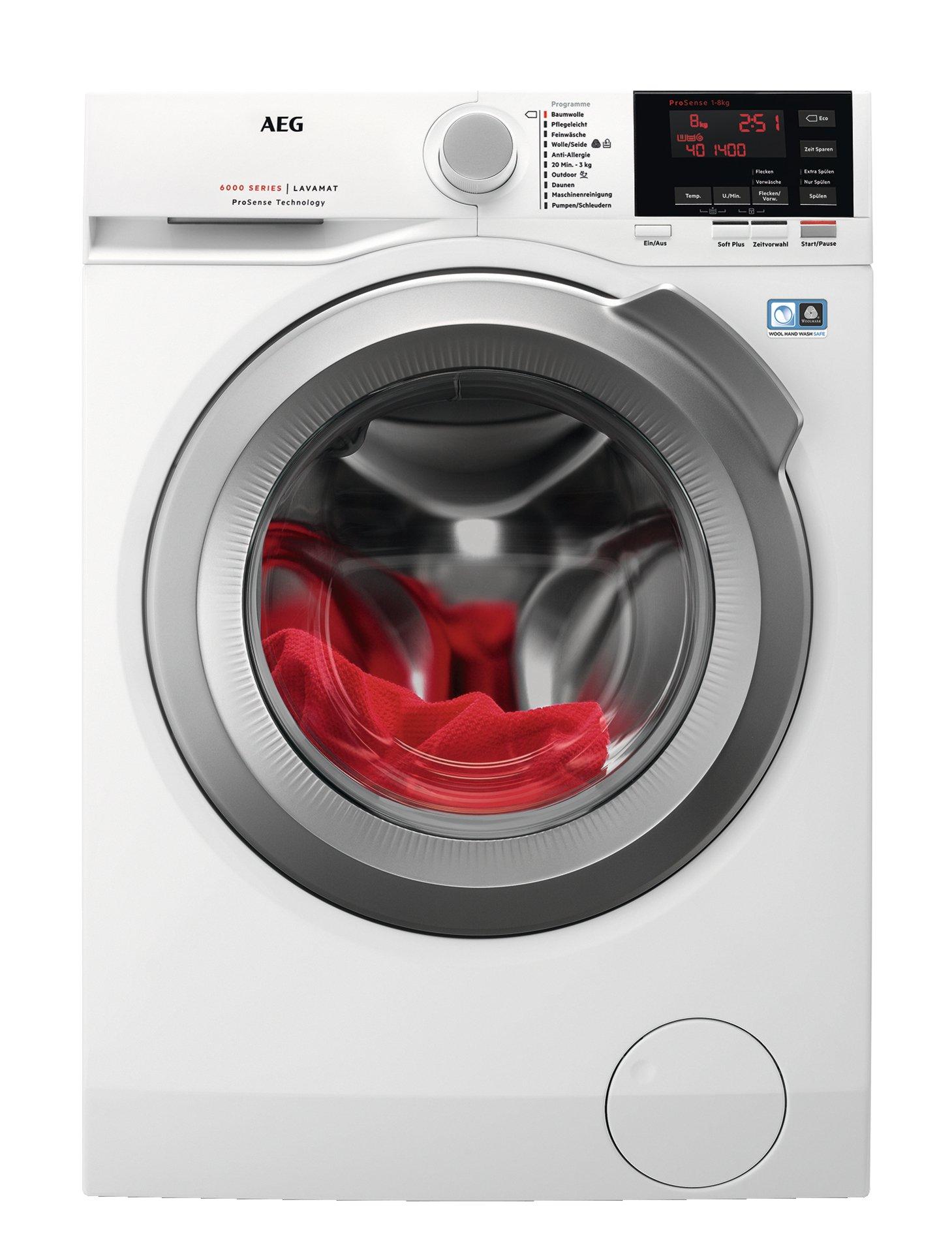 AEG L6FBA68 Waschmaschine Frontlader, 8 kg, Waschvollautomat mit Nachlegefunktion