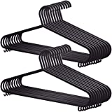 KEPLIN 25 Pack Adult Coat Hangers Black Colour Strong Plastic Clothes with Suit Trouser Bar and Lips (37.5cm Wide)