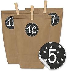 24 Adventskalender Papiertüten mit 24 Zahlenaufklebern und Klammern - zum selber Basteln - DIY Set Adventskalender zum Befüllen