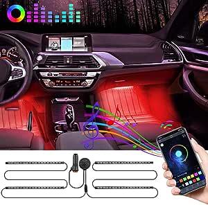 72led Auto Led Innenbeleuchtung Auto Led Strip Fußraumbeleuchtung Auto Bluetooth Steuerung Wasserdicht Rgb Auto Innenraumbeleuchtung Mit App Mit Zigarettenanzünder Und Mikrofon Für Iphone Android Auto