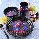 طقم أكواب أطباق طعام بلاستيكية من Marvel Spiderman - 3 قطع مجموعة الإفطار