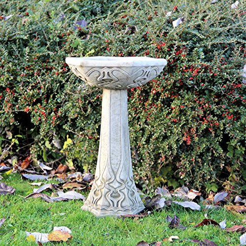 Stone Bird Bath Feeder Art Deco Design