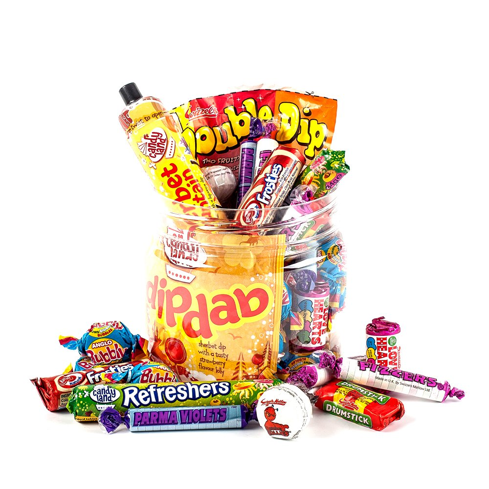 Retro-Favourites-Sweet-Jar-by-Chewbz-filled-with-classic-sweetshop-sweets-including-drumstick-lollies-sherbet-fountains-and-more-A-perfect-birthday-present-for-retro-sweet-fans