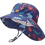 JUPSK Sombrero de Pescador para niños,Sombrero Unisex de ala Ancha para el Sol, Sombrero de Playa Plegable con mentón Ajustab