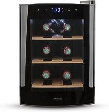 H.Koenig AGE6WV Weinkühlschrank / 6 Flaschen / Temperatur von 8°C bis 18°C / LED-Temperaturanzeige / Holzlagerböden