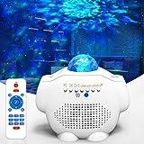 Amouhom Sterrenhemel projector, led-watergolfprojectorlamp met afstandsbediening en Bluetooth 5.0, instelbare helderheid voor