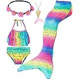Le SSara Conjunto de 5 Piezas Colas de Sirena para Nadar Traje de Baño para Niñas Princesa Bikini 3-12 años (Sin Monofin)