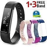 Navtour Fitness Armband mit 3 Ersatzbänder(kostenlos) Wasserdicht IP67 Fitness Tracker,Aktivitätstracker,Schrittzähler,Kalorienzähler,Schlaf-Monitor,SMS/Anruf,Sport Armband für ios und Android